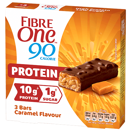 A box of 3 Fibre One 90 Calorie salted caramel protein bars.